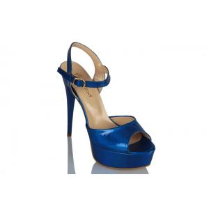 Platform Ayakkabı Mavi Rugan