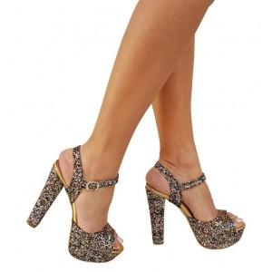 Platform Ayakkabı Renkli Cam Kırığı Model