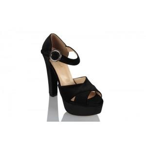 Platform Ayakkabı Siyah Kadife