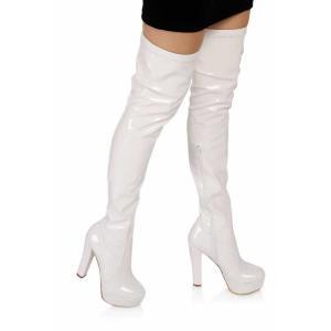 Platform Streç Çorap Çizme Beyaz Rugan