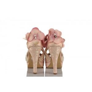 Pudra Dantel Gül Kurusu Çiçek Ve Kurdeleli Tasarım Düğün Ayakkabısı