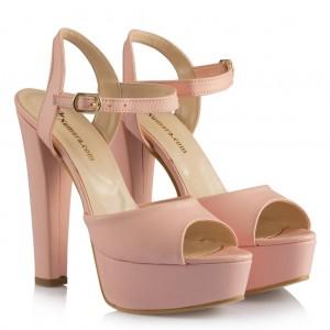 Pudra Rengi Kalın Topuk Gelin Ayakkabısı