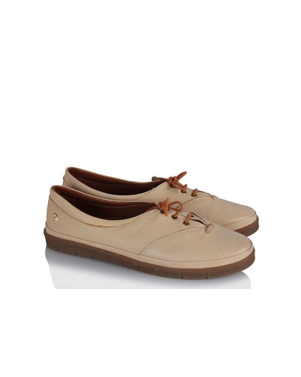 Rahat Ayakkabı Bej Bağcıklı Deri