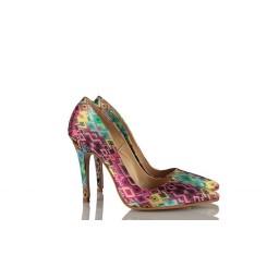 Renkli Desen  Stiletto Ayakkabı