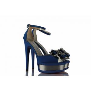 Saks Mavi Çift Platform Saten Ayakkabı