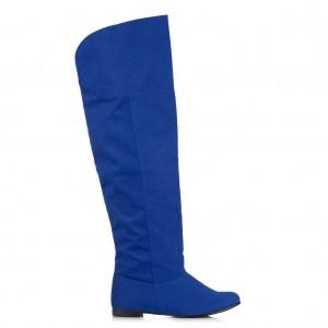 Saks Mavi Süet Dizüstü Binici Kadın Çizme