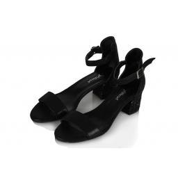 Sandalet Az Topuklu Siyah Yaldızlı Tek Bantlı