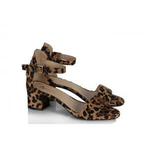 Sandalet Topuklu Leopar Tek Bantlı