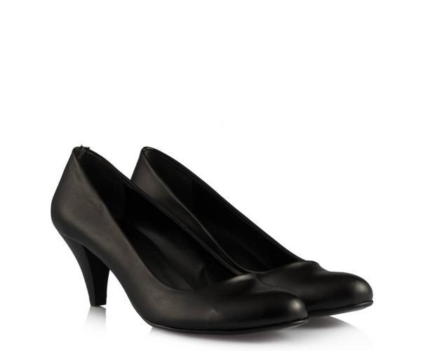 Siyah Deri Casual Topuklu Bayan Ayakkabı