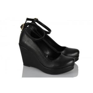 Siyah Dolgu Topuk Ayakkabı Kemerli