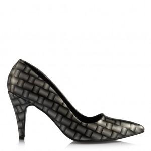 Siyah Gri Stiletto Ayakkabı