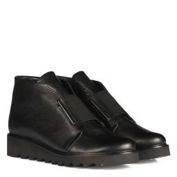 Черные Ботинки С Резинкой Натуральная Кожа