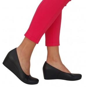 Siyah Hakiki Deri Gizli Dolgu Topuk Ayakkabı