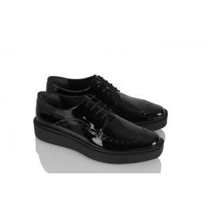 Siyah Hakiki Deri Rugan Bağcıklı Ayakkabı