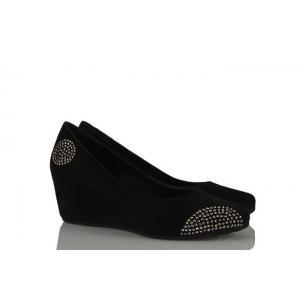 Siyah Hakiki Süet Taşlı Dolgu Topuk Ayakkabı