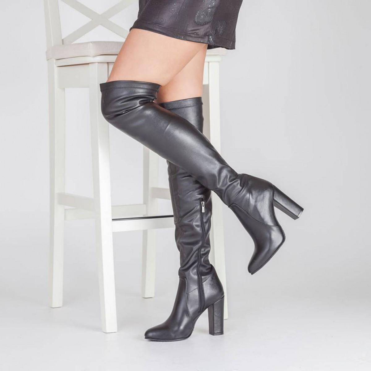 Siyah Mat Deri Dizüstü Streç Çizme
