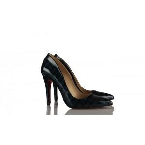 Siyah Mavi Yüksek Stiletto Ayakkabı