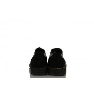 Siyah Rugan Bağcıklı Oxford Kadın Ayakkabı