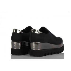 Siyah Streç Kalın Taban Ayakkabı