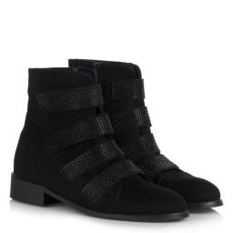 Замшевые Черные Ботинки С Камнями И Ремешком