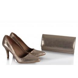 Stiletto Ayakkabı Çanta Dore Yaldızlı