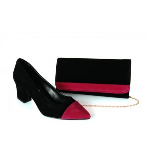 Stiletto Ayakkabı Çanta Siyah Pembe Rengi