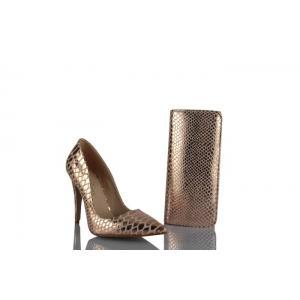 Stiletto Ayakkabı Çanta Takım Bakır