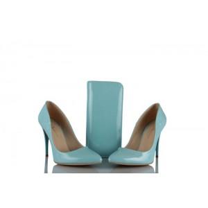 Stiletto Ayakkabı Çanta Takım Bebe Mavisi