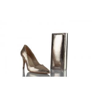 Stiletto Ayakkabı Çanta Takım Dore Yılan Baskı