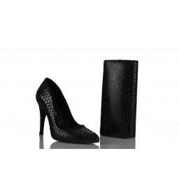 Stiletto Ayakkabı Çanta Takım Siyah