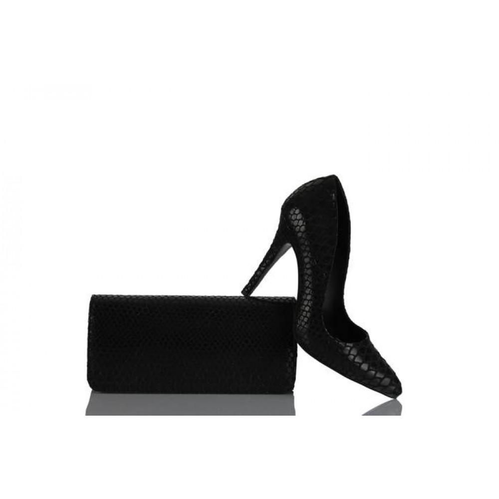 44f2bb6d5d398 Stiletto Ayakkabı Çanta Takım Siyah - 37numara.com