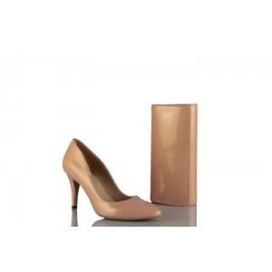 Stiletto Ayakkabı Çanta Takım Somon