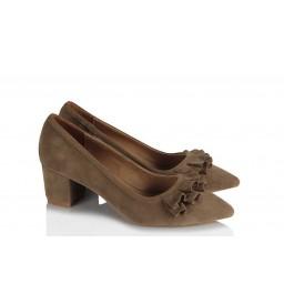 Stiletto Ayakkabı Vizon Süet Fırfırlı