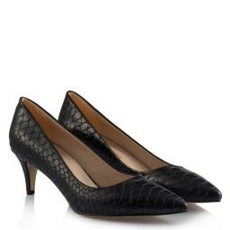 Туфли На Маленьком Каблуке Под Кожу Крокодила Цвет Темно Синий