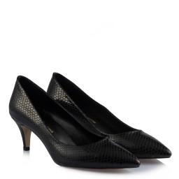 Черные Туфли На Маленьком Каблуке Под Змеиную Кожу