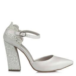 Stiletto Gelin Ayakkabısı Kırık Beyaz Cam Kırığı Topuk