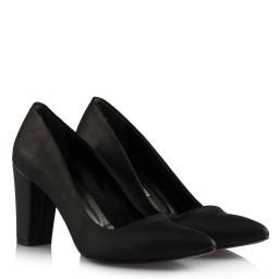Stiletto Kalın Topuklu Siyah Mat Deri