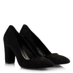 Stiletto Kalın Topuklu Siyah Süet Taşlı