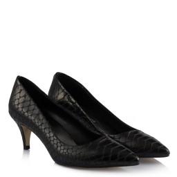 Черные Туфли На Маленьком Каблуке Под Кожу Крокодила