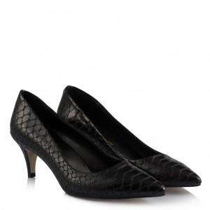 Stiletto Siyah Crocodil Desen Az Topuklu