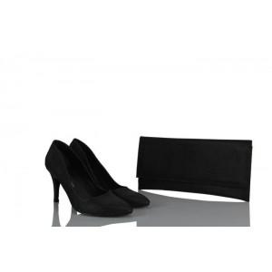 Stiletto Siyah Simli Çanta Takım