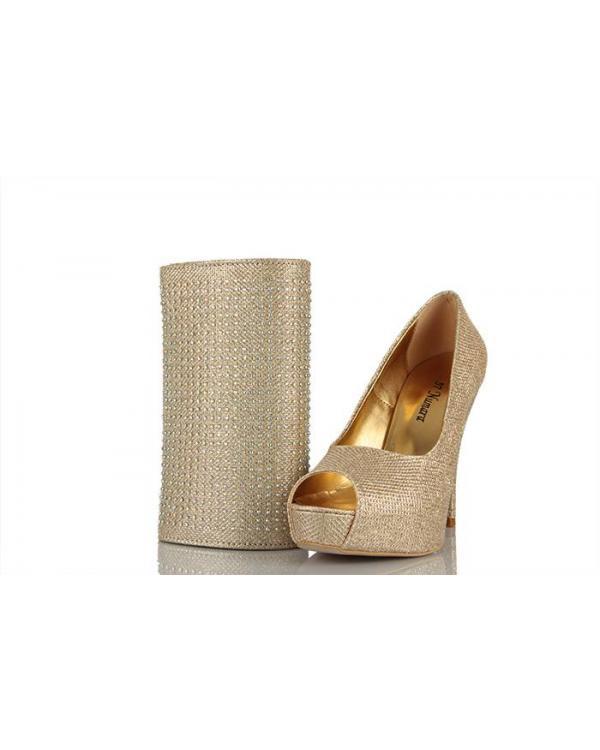 Taşlı Dore Topuklu Ayakkabı Satın Al