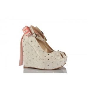Taşlı İşlemeli Dolgu Topuk Gelin Ayakkabısı