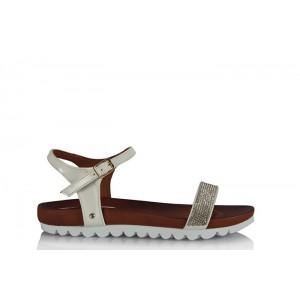 Taşlı Sandalet Beyaz Bantlı