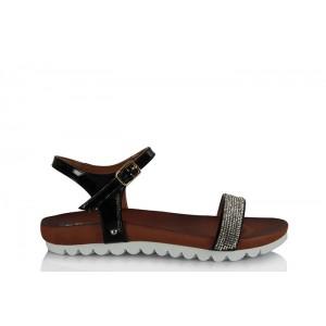 Taşlı Sandalet Siyah Bantlı