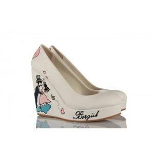 Titanik Tasarım Dolgu Topuk Gelinlik Ayakkabı