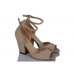 Topuklu Ayakkabı Bej Kalın Topuk