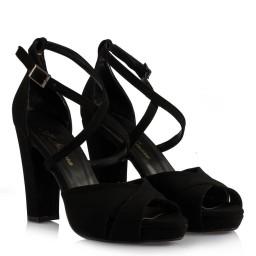 Topuklu Ayakkabı Çapraz Model Siyah Süet
