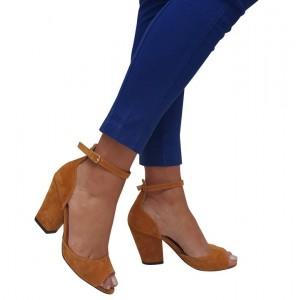 Topuklu Ayakkabı Hardal  Kalın Topuk