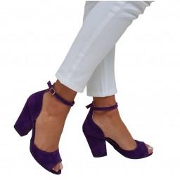 Topuklu Ayakkabı Mor Süet